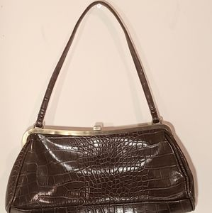 Vintage Chocolate Brown Croc Embossed purse